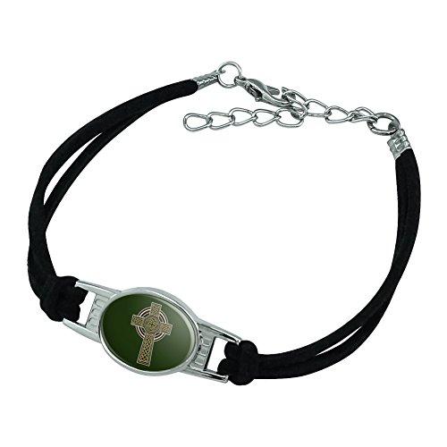GRAPHICS & MORE Celtic Christian Cross Irish Ireland Novelty Suede Leather Metal Bracelet