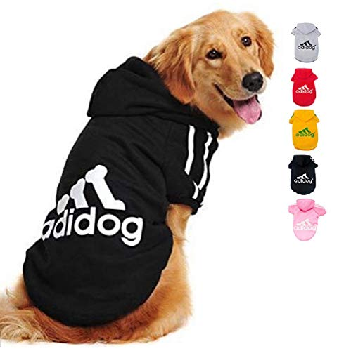 Ducomi Adidog Hunde Hoodie Kapuzenpullover aus weicher Baumwolle XS bis 8XL Versand aus DE (L, Schwarz)