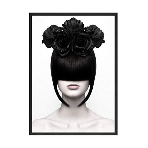 Schwarz-Weiß-Wand Bilder Leinwand Bild Mode Mädchen Poster und Kunstdrucke Tanz Ballett Wandbilder für Wohnzimmer Schlafzimmer Dekor 40 × 60cm Rahmenlos