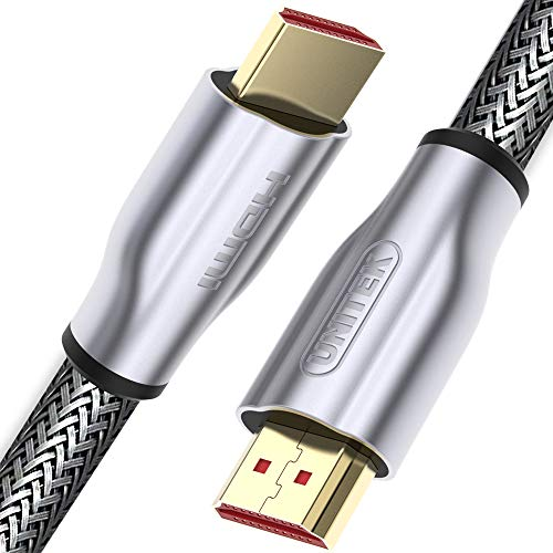 UNITEK 10 Meter HDMI-Kabel (M-M), Ver. 2.0 I Lux, 4K@60p, Audio-Video I Durchmesser 7,3 mm, 100% Kupfer, High Speed mit Ethernet HDMI Kabel, Monitorkabel, Displaykabel, Grau, Nylongeflecht, Zinkspitze