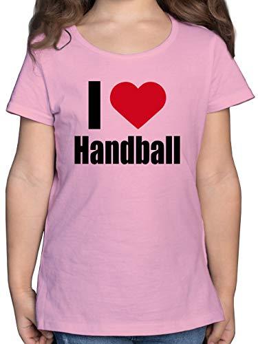 Handball WM 2021 Kinder - I Love Handball klassisch - 104 (3/4 Jahre) - Rosa - mädchen t-Shirt 164 - F131K - Mädchen Kinder T-Shirt