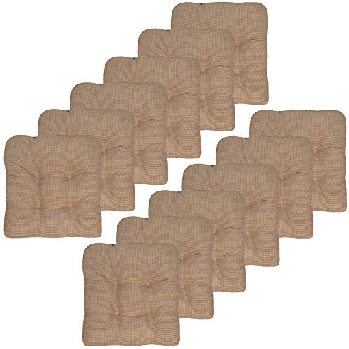 Sweet Home Collection Chair Cushion Crushed Memory Foam Pads Premium Slip Non Skid Microdot Rubber Back Tufted 16' x 16' x 3.25' Thick Seat Cover, 12 Pack, Taupe