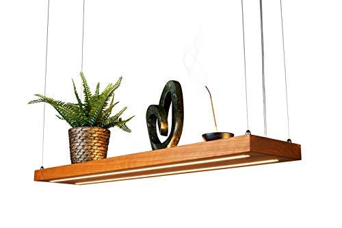 LED Hängelampe | Perfekt über dem Esstisch | Pendelleuchte holz | Edles Design | aus massiver Kirsche | als Regal verwendbar | Dimmbar | (Kirsche 125 cm)