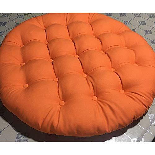 ZAIPP Thicked Linen Chair Pad,Comfortable Papasan Chair Cushion Hanging Egg Chair Cushion Versatile Tatami Floor Seat Cushioning-Orange Diameter45cm(18inch)