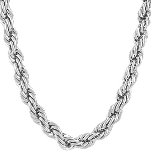 Lifetime Jewelry 7mm Rope Chain Necklace 24k Real Gold Plated for Men & Women (White Gold, 18)