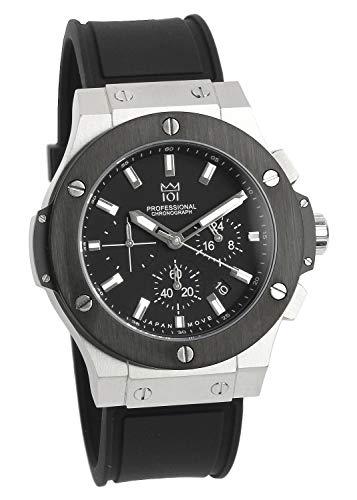 [HYAKUICHI 101] 腕時計 ウォッチ 100m防水 クロノグラフ 日付表示 ラバーベルト シルバー×ブラック メンズ