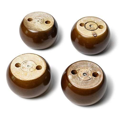 4PCS Wood Round Solid Furniture Legs Walnut Bun Feet 2inch Tall Replacement for Sofa Couch Chair Ottoman Loveseat Coffee Table Cabinet Furniture Wood Legs