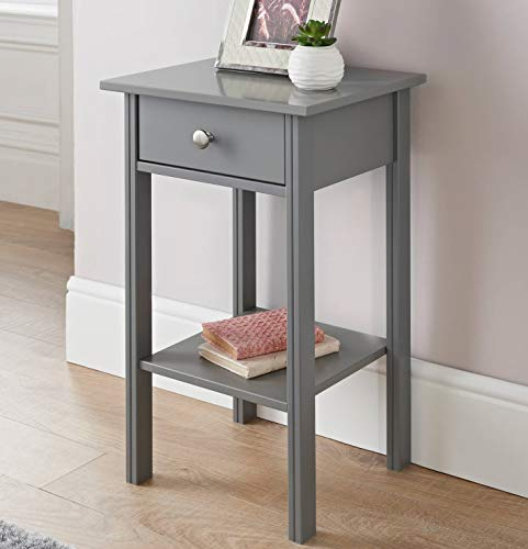 E2B Larson Bedside Table, 1 Drawer with Shelf Cabinet Side Table Storage Unit - Grey