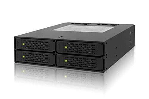 ICY DOCK Wechselrahmen für 4X 2,5 Zoll (6,4cm) SATA SSD/HDD in 1x 5,25 Zoll (13,3cm) - Vollmetall ToughArmor MB994SP-4SB-1