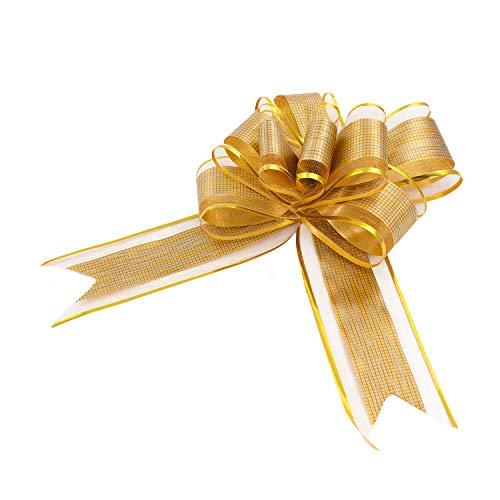 Oblique Unique® Geschenk Schleife mit Geschenkband Glänzend für Geschenke Tüten Zuckertüten zum Basteln Dekorieren Verzieren - wählbar (Gold)