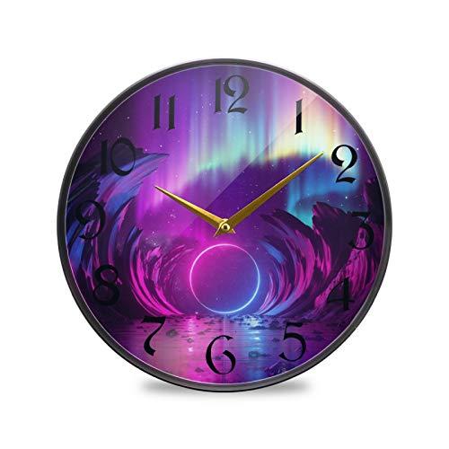 ART VVIES Reloj de Pared Redondo de 12 Pulgadas Que no Hace tictac silencioso Funciona con Pilas Oficina Cocina Dormitorio Decoraciones para el hogar-Aurora púrpura