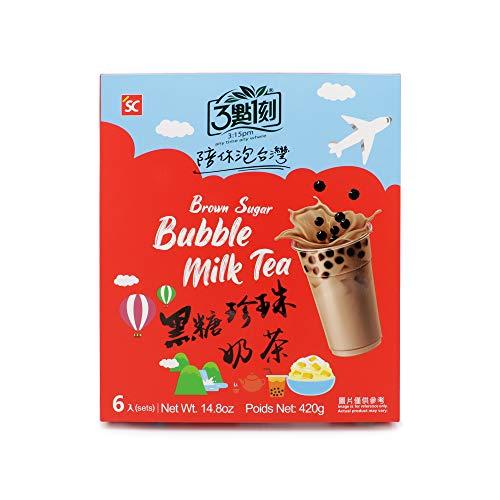 Bubble Tea 6 Sets - Brauner Zucker Milchtee mit Tapioka Perlen, einfach zuzubereiten - Authentisches Getränk aus Taiwan, ohne Konservierungsstoffe, Sets ohne Strohhalme (70g x 6)