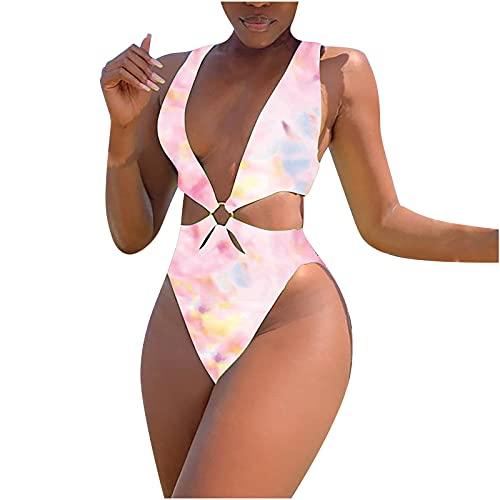 Womens Halter Bandage Bikini Met Taille Uitgesneden Een Stuk Badpakken Ruches Sexy Bikini Eendelige Bikini Cutout Effen Kleur Bikini Cross Bikini Zwemmen Kostuum Monokini Sale - roze - XL