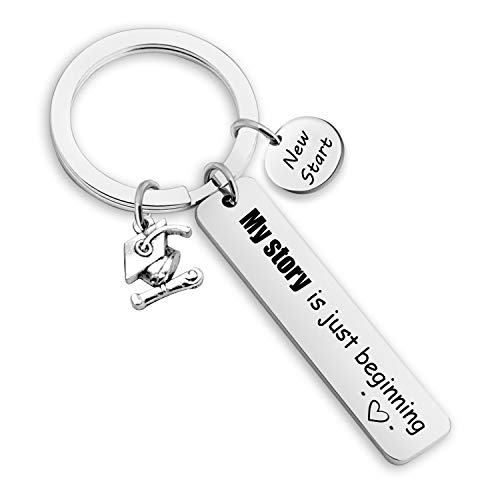 EIGSO Graduation Keychain My Story is Just Beginning Graduation Gift for Her and Him Graduation Cap Charm Ceremony Keychain College Boys Girls