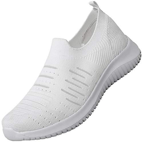 MAOGO Damen Sneaker Atmungsaktiv Laufschuhe Slip On Schuhe Freizeitschuhe Outdoor Sportschuhe (Weiß, Numeric_41)
