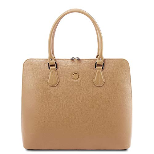 Tuscany Leather Magnolia Borsa business in pelle per donna Champagne