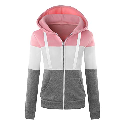 Newbestyle Femme Printemps Automne Hoodies Sweat-Shirt Manches Longues à Capuche Vestes Zipper Sweatshirts (Large, Rose)