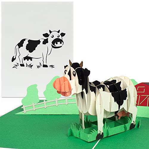 """PaperCrush® Pop-Up Karte Kindergeburtstag """"Kuh auf Bauernhof"""" - Lustige 3D Kinder Geburtstagskarte für Mädchen und Jungen, Glückwunschkarte zum Kinder-Geburtstag"""