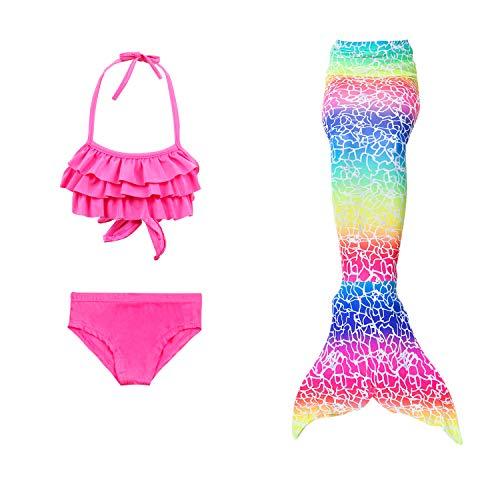 Lee Little Angel Nueva Chica Sirena Cola Bikini Traje de Tres Piezas (150, DH32+WJF48)