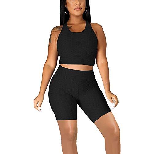 Mujeres 2 Piezas Pantalones Cortos Conjuntos de Trajes Control de Barriga Scrunch Butt Shorts Racerback Crop Tank Tops Entrenamiento (Black, XL)