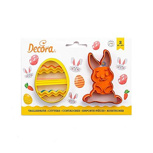 Decora 0255060 - Juego de 2 cortapastas de conejo y huevo decorados en plástico