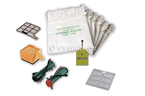 eVendix Filterset passend für Vorwerk Kobold VK 135, 136: 6 Staubsaugerbeutel ähnlich FP 135, FP 136 + 1 Hygiene-Mikrofilter HEPA+ 1 Motorschutzfilter + 2 Ersatzbürsten EB 360 / EB 370 + 6 Duftsticks