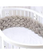 Luchild Flätad spjälsängsstötfångare, 2 cm/78,7 tum spjälsängsskydd, spjälsäng stötfångare runt skydd 100 % bomull säng sovskydd för nyfödda baby barn