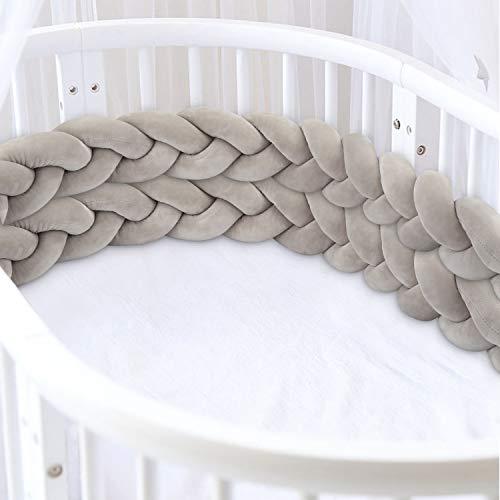 Luchild Bettschlange geflochten 2M Bettumrandung Baby Nestchen Weben Kantenschut Kopfschutz Stoßfänger Bettrolle Dekoration für Krippe Kinderbett Grau