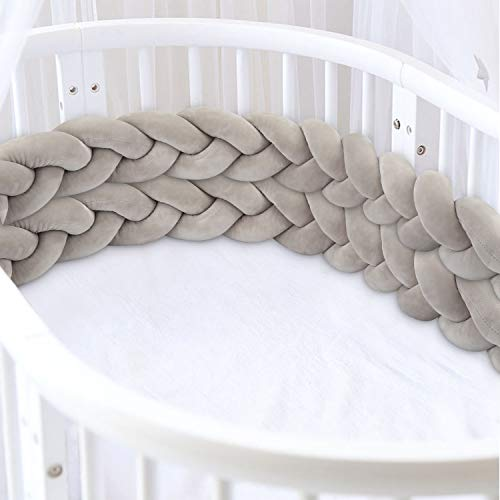 Luchild Bettumrandung Babybett Baby Nestchen Bettumrandung Weben bettschlange geflochten Stoßfänger Dekoration für Krippe Kinderbett (200cm Grau)