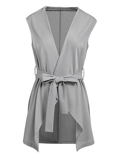 Grabsa Women's Casual Lapel Open Front Sleeveless Vest Cardigan Jacket with Belt Grey