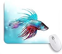 Mabby マウスマット ゲーミング オフィス マウス パッド,Siamese Fighting Betta Fish Swimming in Aquarium Aggressive Sea,Non-Slip Rubber Base Mousepad for Laptop Computer PC Office,Cute Design Desk Accessories