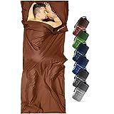 Fit-Flip Sábana de Viaje Microfibra, Sábana Saco de Dormir de algodón, Saco de Dormir de Verano, Saco de Dormir Compacto con Cremallera, Saco de Dormir Ligero - Color: marrón Oscuro