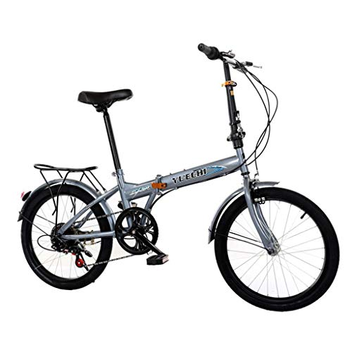 PUTEARDAT 20in 7 Speed Folding Bike for Men & Women High Tensile Steel Folding Frame with U Brake Rear Carry Rack Max Weight 220lbs Mini Compact Bike Bicycle Urban Commuters