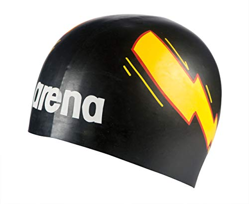 Arena Poolish Moulded, Cuffia Unisex Adulto, Thunder Nero/Giallo, Taglia Unica