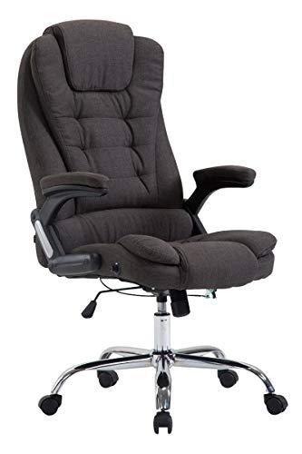 CLP XXL Chefsessel Thor mit Stoffbezug, max. belastbar bis 150 kg, Bürostuhl mit Armlehnen, höhenverstellbar, Drehstuhl mit dickem Polster, Farbe:dunkelgrau