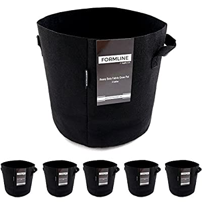Formline Supply 5-Pack 5 Gallon Heavy Duty Fabric Grow Bags with Handles