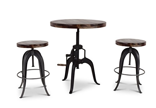 Steve Silver Sparrow 30' Round Adjustable Crank Pub Table in Russet Brown