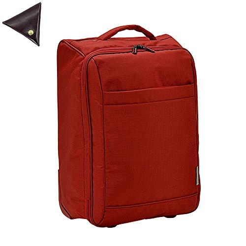 日本豊岡製 VALENTINO VISCANI スーツケース キャリーバッグ 30l 軽量 2輪 折りたたみ ソフト キャリーケース Sサイズ と [BLANZAY 本革高級コインケース]のセット 赤 (09) BH15182