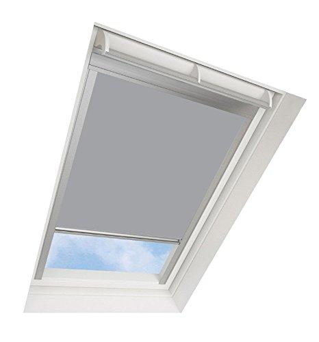 Darkona Dachfensterrollo für VELUX-Dachfenster - Verdunkelungsrollo - Zahlreiche Farben/Zahlreiche Größen (M06, Grau) - Silberner Aluminiumrahmen
