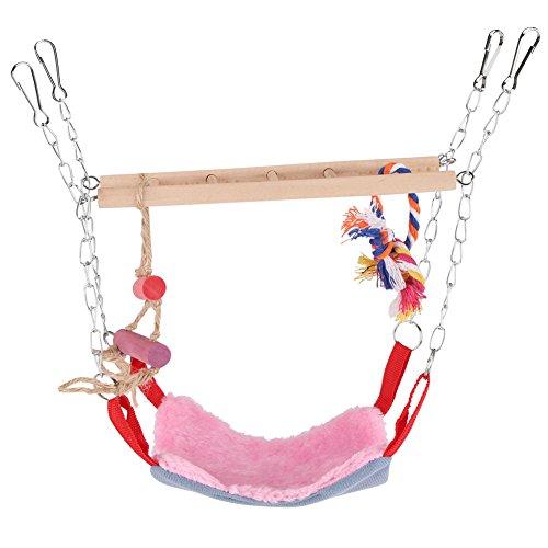 GLOGLOW Papegaai Flexibele Ladder, Kleurrijke Huisdieren Vogels Klimmen Speelgoed Hangende Stap Papegaai Ladder Swing Bridge Vogelkooi Accessoires Decoratief Roze)