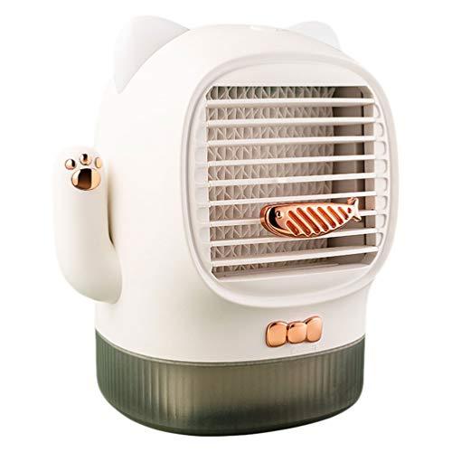 Garneck Mini-ventilator, airconditioning, kat, geluksbrenger, waterkoeler, met oren, nachtlampje, USB, tafellader, ventilator voor kantoor, slaapzaal, auto, nachtkastje, wit (rechte snit) 18.9X15.5CM Stockage D'énergie