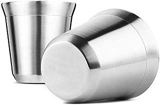 BOINN Lot de 2 tasses à expresso en acier - Double paroi - Facile à nettoyer - Passe au lave-vaisselle (80 ml)