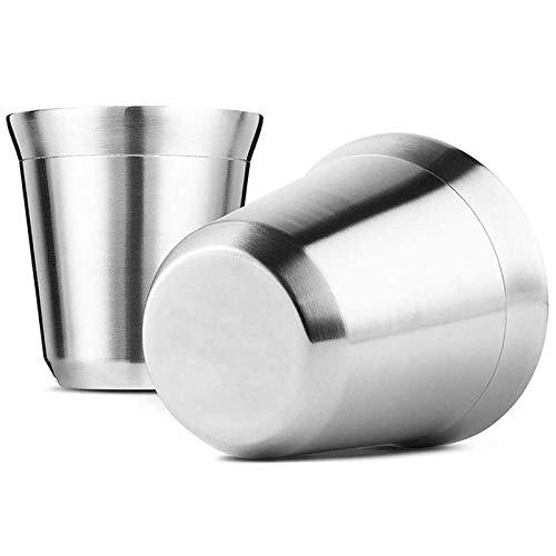 Sucute Stahl Espresso Tassen Set Von 2, Doppel Wandige Isolierte Kaffee Tassen Tee Tassen, Leicht zu Reinigen und Geschirr SpüLmaschinenfest (80 Ml)