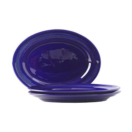 Tuxton Home Oval Platter (Set Of 3), Cobalt Blue.