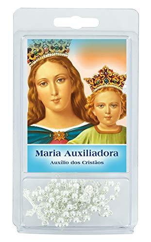 Ferrari & Arrighetti - Rosario de Perlas Blancas de 4 mm con oración a la Virgen Auxiliar (Paquete de 3 Unidades)