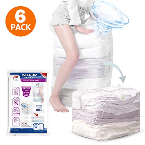 Jumbo Cube Vacuum Storage Bags, Extra Large Compressed Space Saver Bags 6 Pack 31x40x15 in, No Need Pumps for Travel, Space Bags for Seasonal Clothes, Comforters, Towels, Pillow, Bedding, Blanket