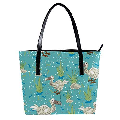 LORVIES Cartoon-Figur Dodo Schultertasche aus PU-Leder und Handtasche für Damen