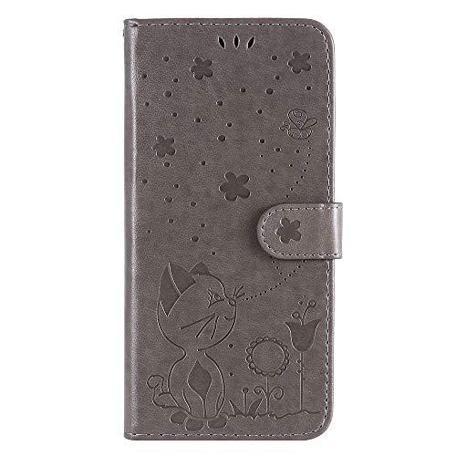 JZ [Gato e Abelha 3D] Capa carteira para Motorola Moto E5/Moto G6 Play Capa protetora para celular carteira flip [magnética e alça de pulso] - Cinza