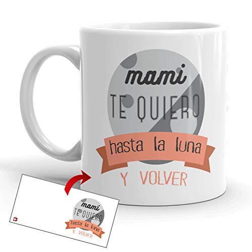 Kembilove Taza Desayuno para Madres – Tazas Originales Graciosas con Mensaje Mamá te quiero hasta la luna y volver – Taza de Café y Té para Madres para regalar el día de la madre