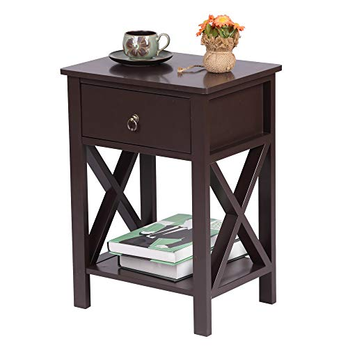 CAMORSA Nightstand with Storage, Bedside Table 1 Drawer, Side Tables for Bedroom End Table (Brown)